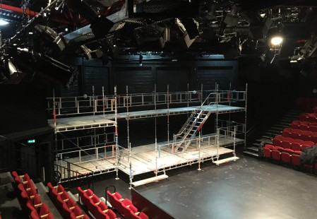 Scaffold for the show RENT at the Minerva, Chichester Festival Theatre, December 2017.