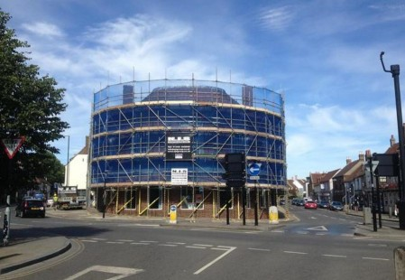 NJS Scaffolding for Mecabury Properties Unicorn House in Chichester, West Sussex